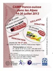 camp,grand kiff,savoie,sorlin,arves,grenoble,franco-suisse,2013,juillet